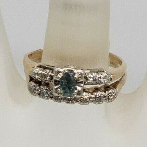 ALEXANDRITE DIAMOND 14K YELLOW GOLD RING SET